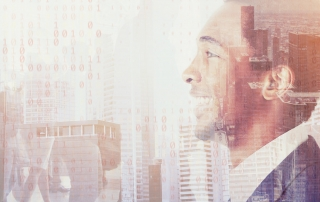 abstract image of a male in a skyline