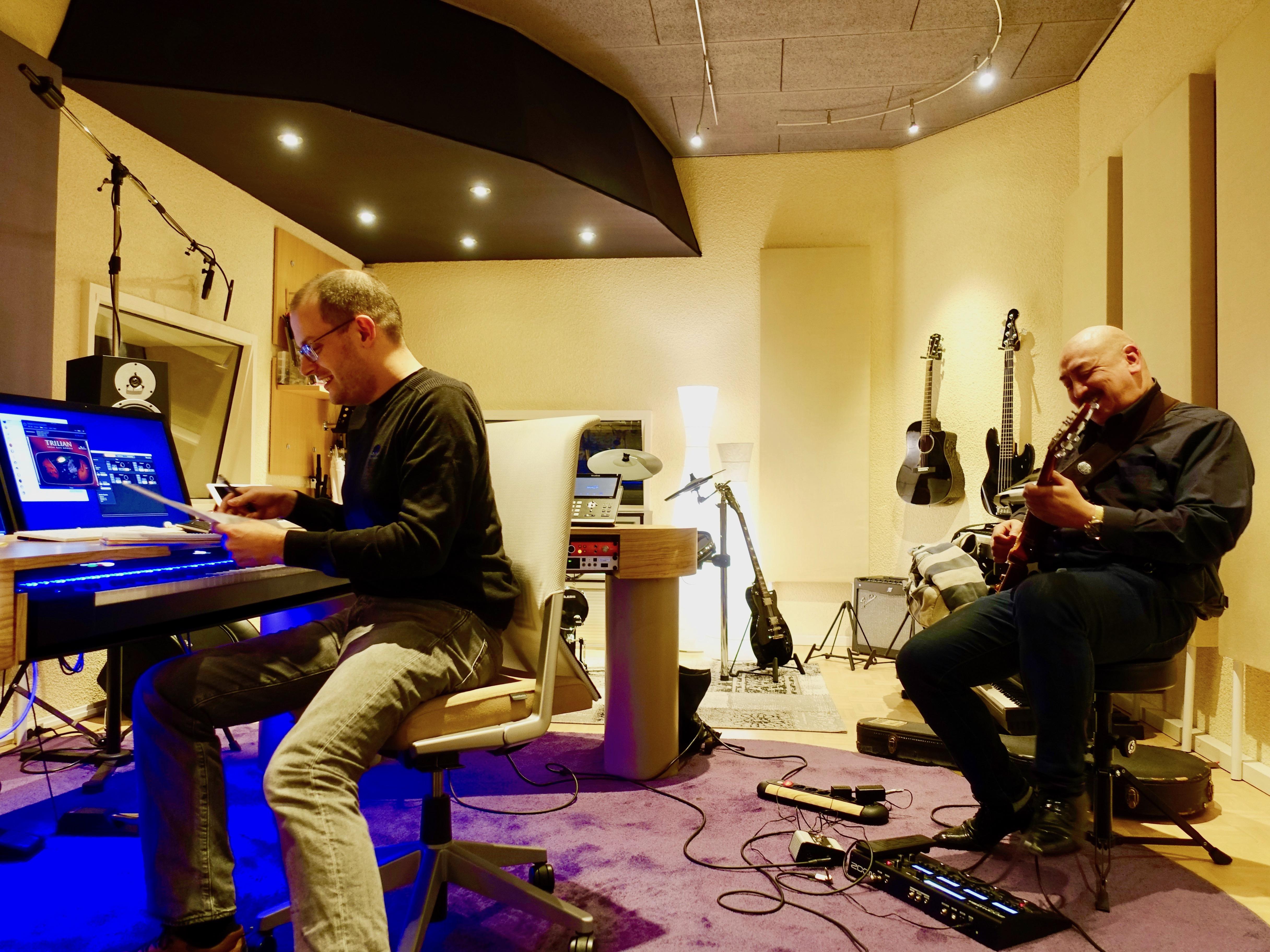 guitar recording in music studio